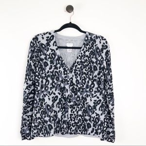 Jaclyn Smith Leopard Print Button Front Cardigan L